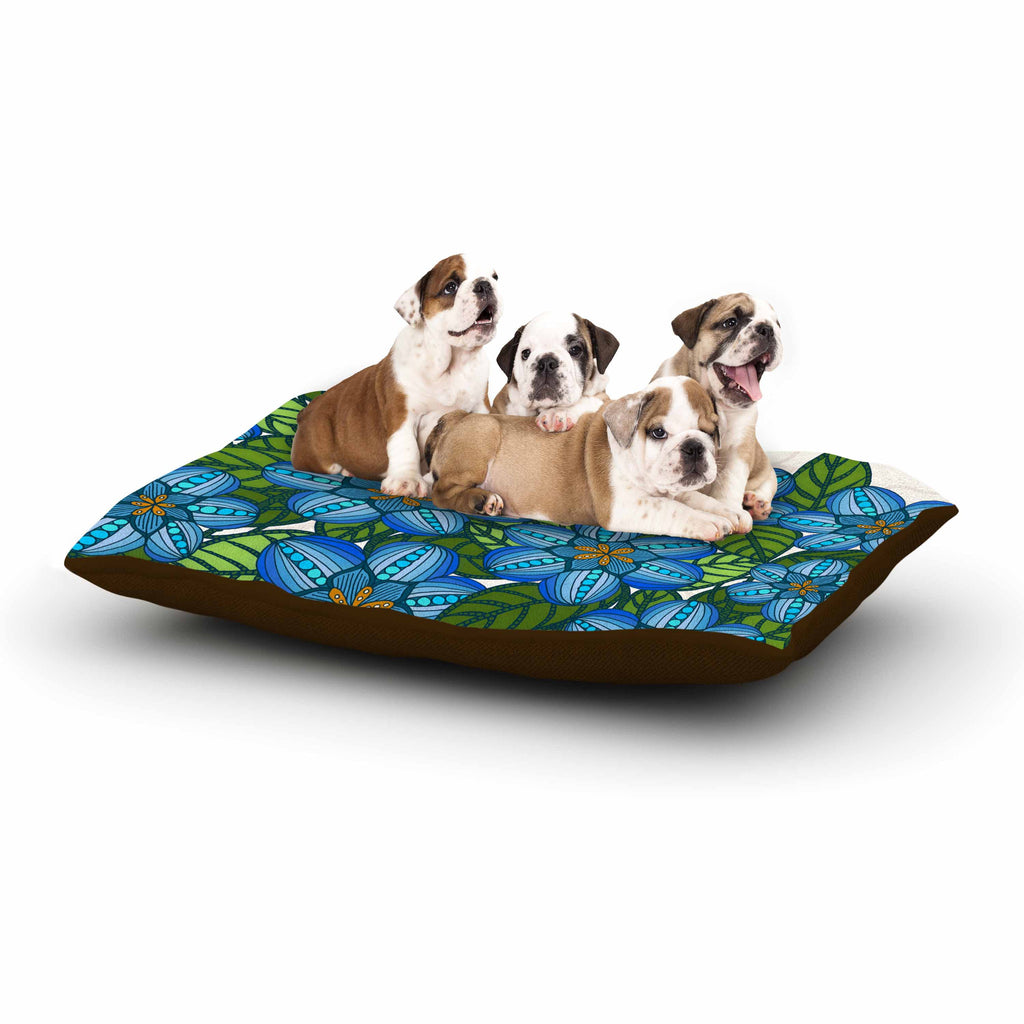 "Art Love Passion ""Blue Flower Field"" Beige Blue Dog Bed - KESS InHouse  - 1"