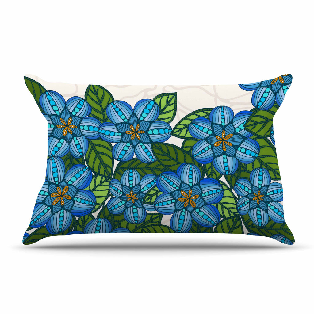 "Art Love Passion ""Blue Flower Field"" Beige Blue Pillow Sham - KESS InHouse  - 1"