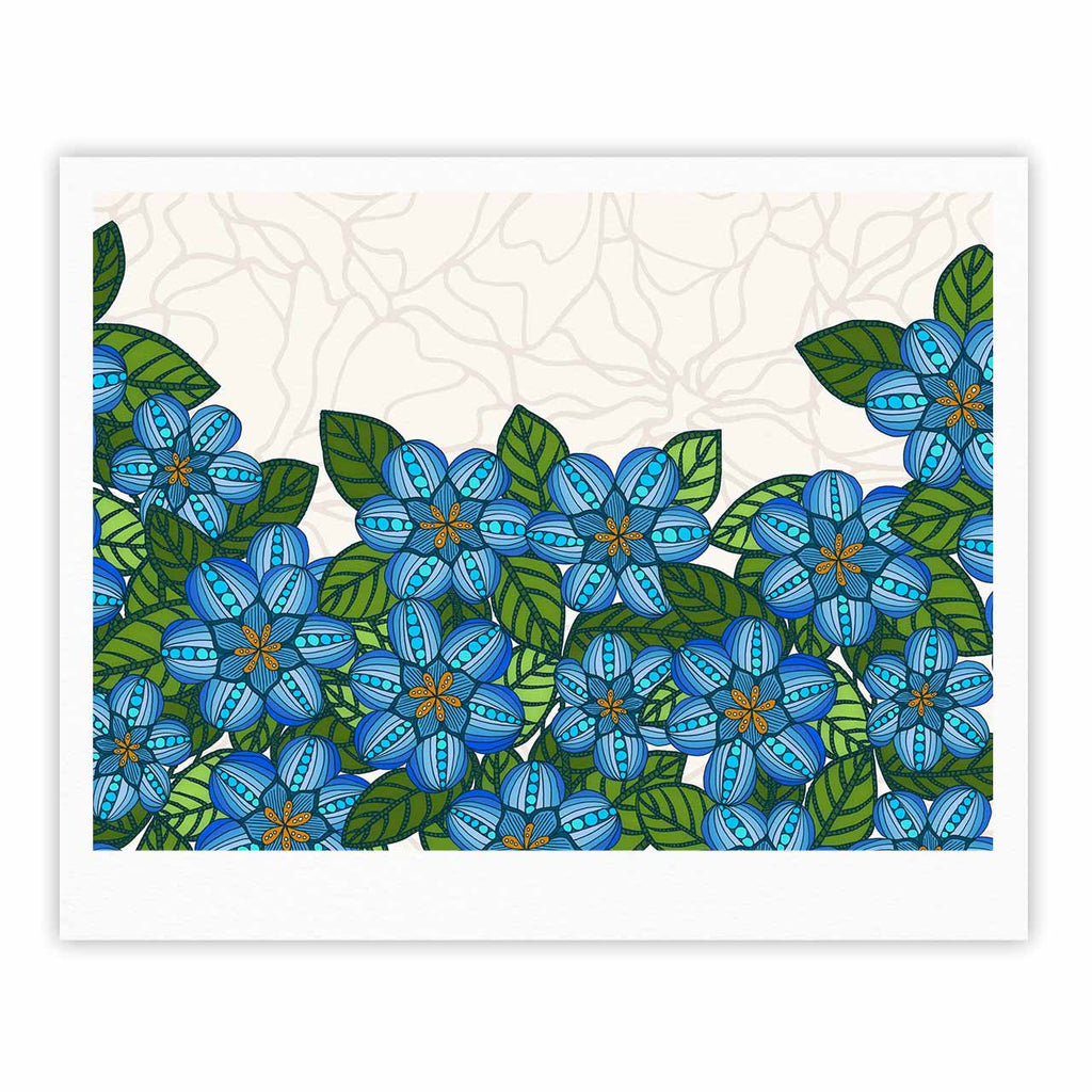 "Art Love Passion ""Blue Flower Field"" Beige Blue Fine Art Gallery Print - KESS InHouse"