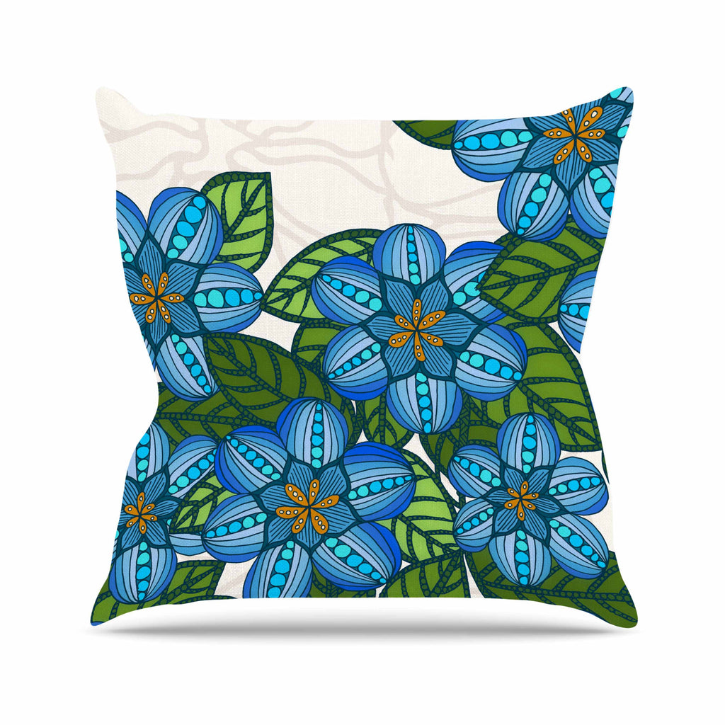 "Art Love Passion ""Blue Flower Field"" Beige Blue Outdoor Throw Pillow - KESS InHouse  - 1"