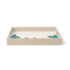 "Art Love Passion ""Blue Flower Field"" Beige Blue Birchwood Tray"
