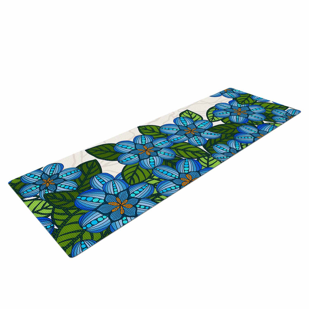 "Art Love Passion ""Blue Flower Field"" Beige Blue Yoga Mat - KESS InHouse  - 1"