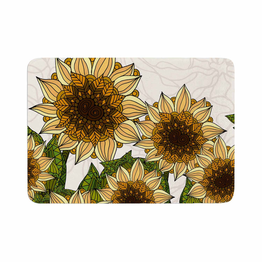"Art Love Passion ""Sunflower Field"" Beige Yellow Memory Foam Bath Mat - KESS InHouse"