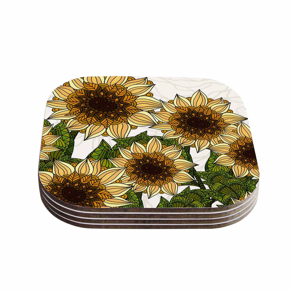 "Art Love Passion ""Sunflower Field"" Beige Yellow Coasters (Set of 4)"