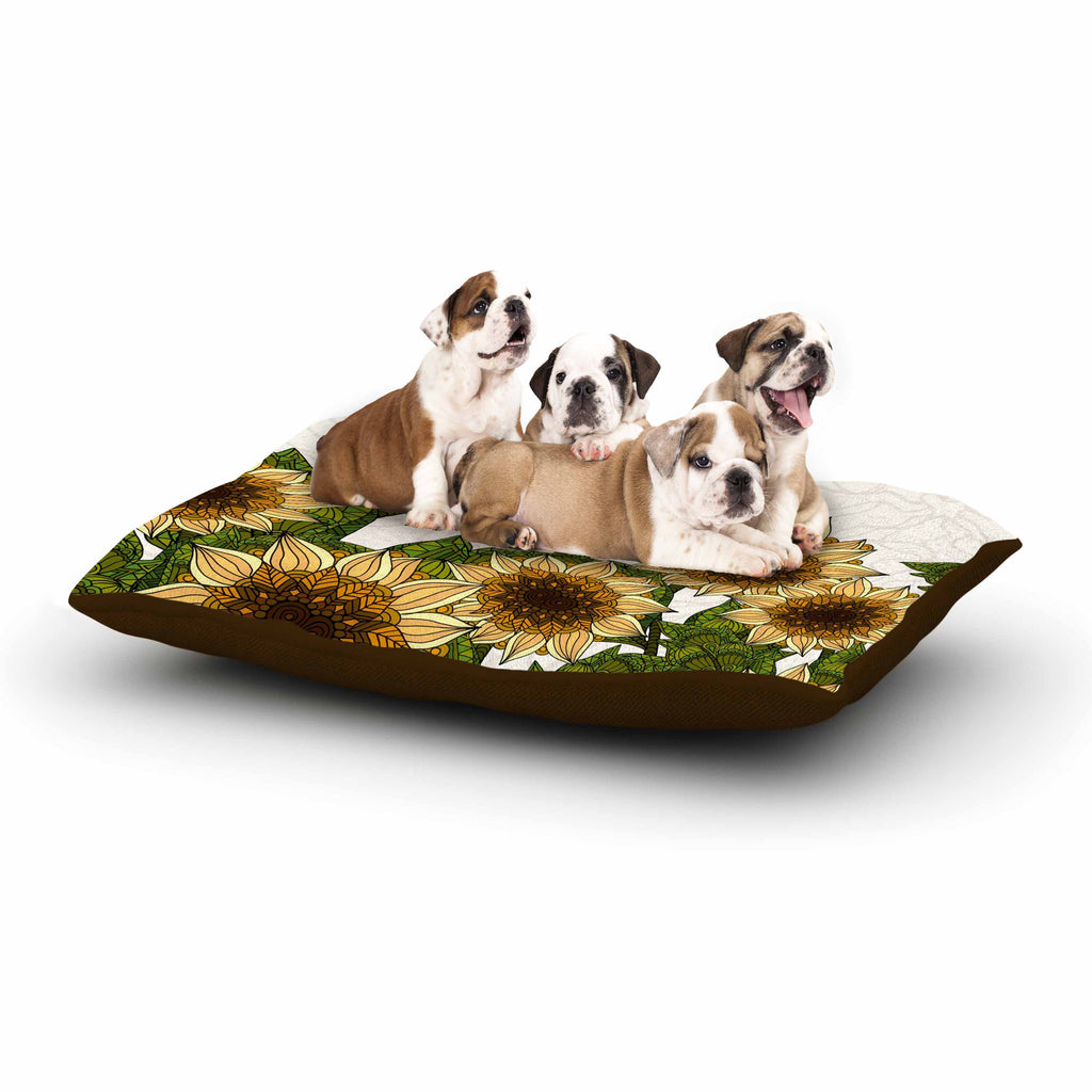 "Art Love Passion ""Sunflower Field"" Beige Yellow Dog Bed - KESS InHouse  - 1"
