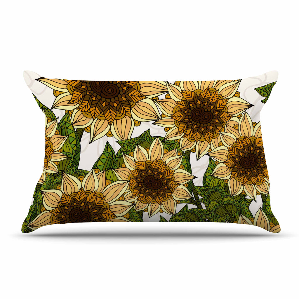 "Art Love Passion ""Sunflower Field"" Beige Yellow Pillow Sham - KESS InHouse  - 1"