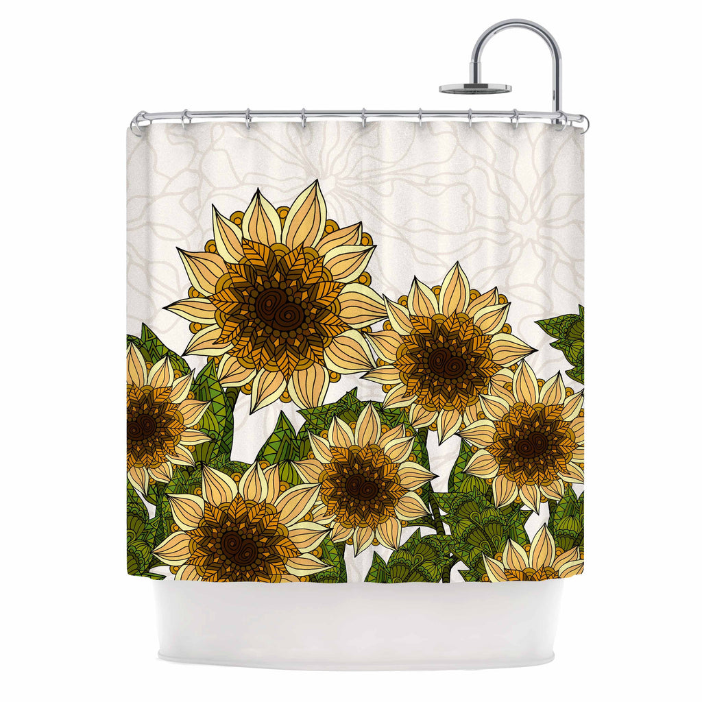 "Art Love Passion ""Sunflower Field"" Beige Yellow Shower Curtain - KESS InHouse"