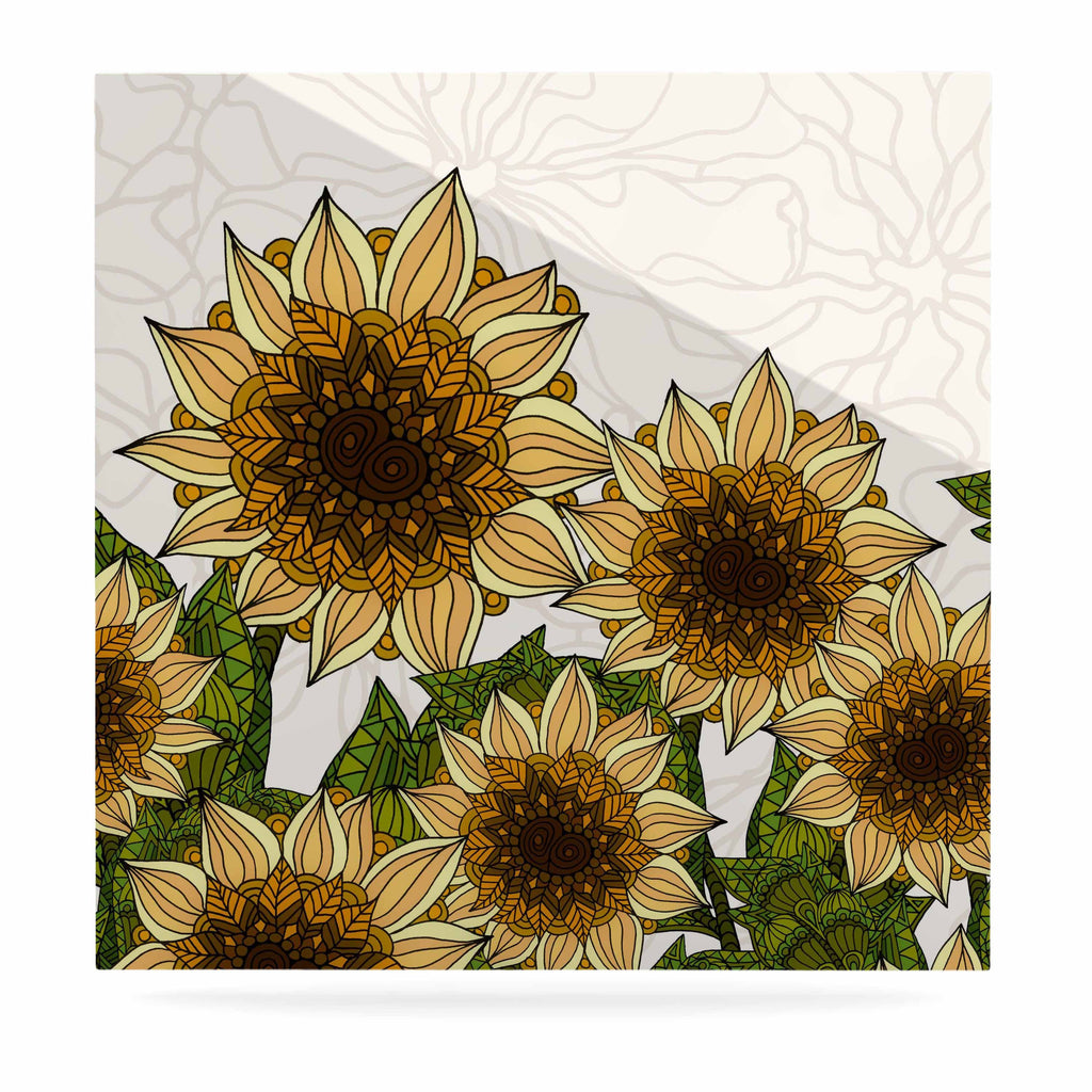 "Art Love Passion ""Sunflower Field"" Beige Yellow Luxe Square Panel - KESS InHouse  - 1"