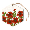 "Art Love Passion ""Poppy Field"" Red Beige Hexagon Holiday Ornament"