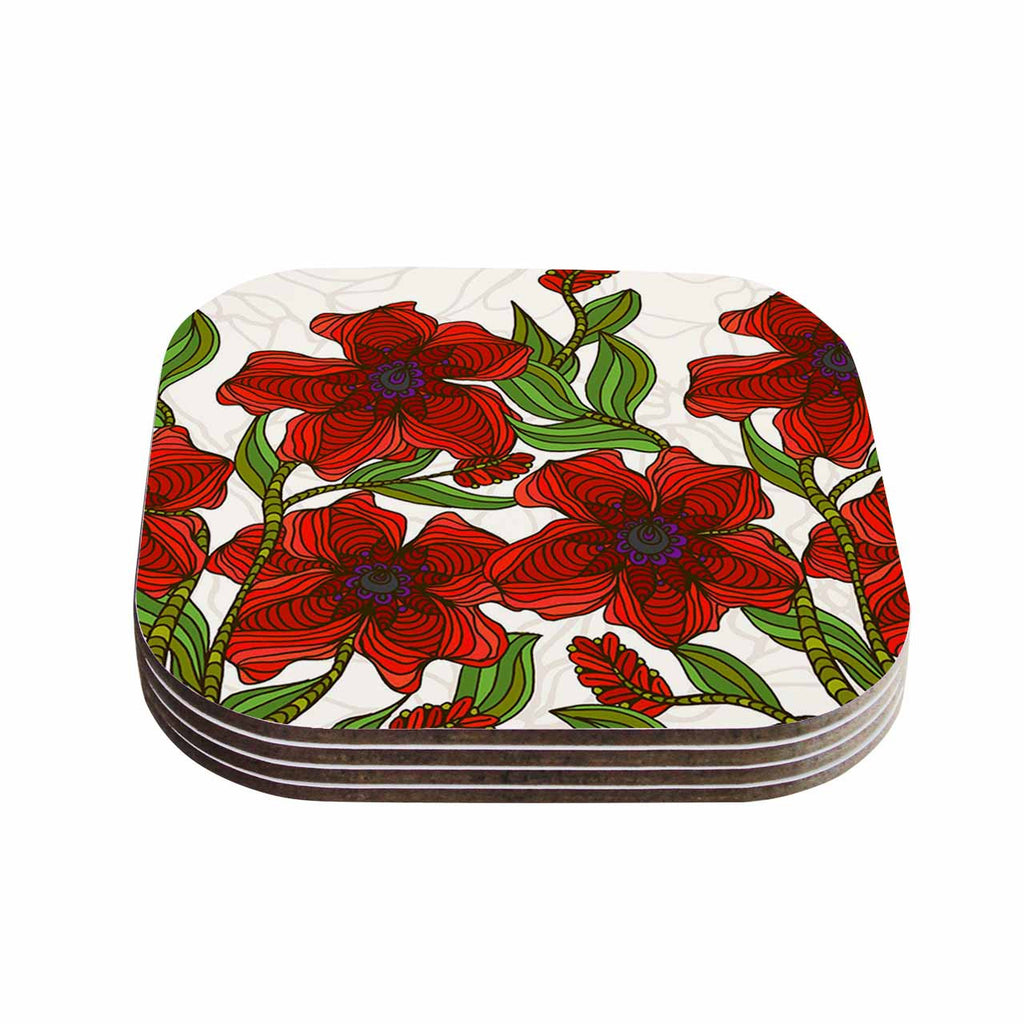 "Art Love Passion ""Poppy Field"" Red Beige Coasters (Set of 4)"