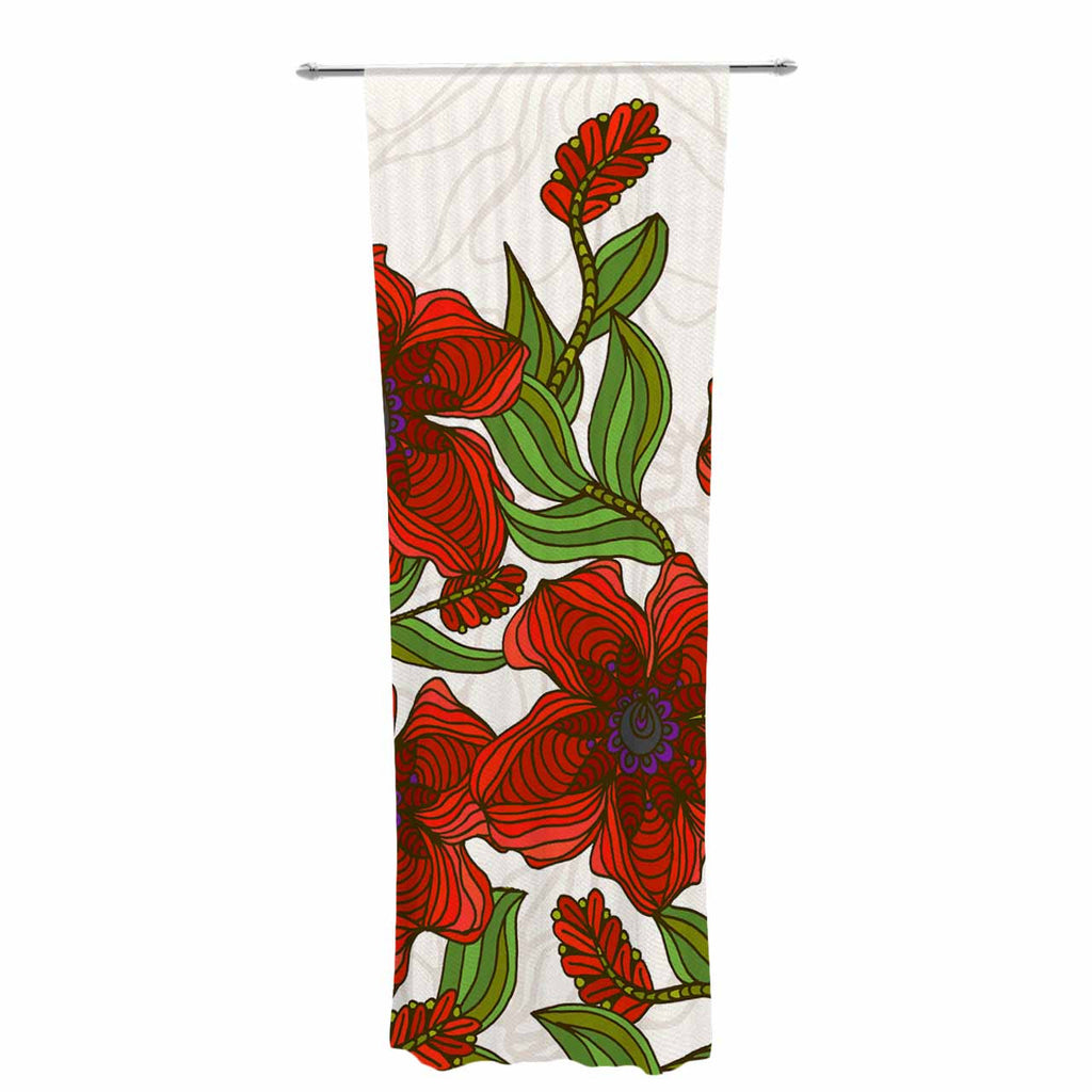 "Art Love Passion ""Poppy Field"" Red Beige Decorative Sheer Curtain - KESS InHouse  - 1"