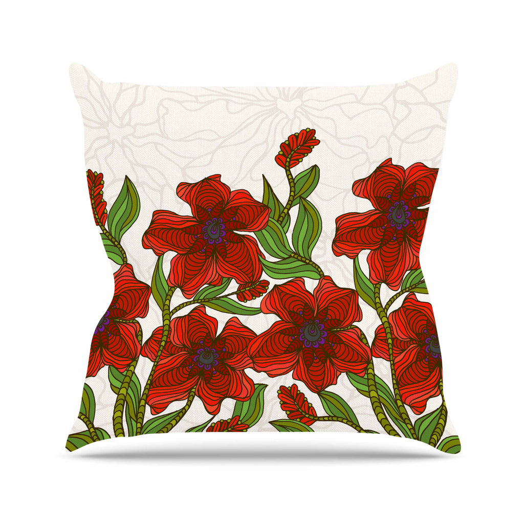 "Art Love Passion ""Poppy Field"" Red Beige Throw Pillow - KESS InHouse  - 1"