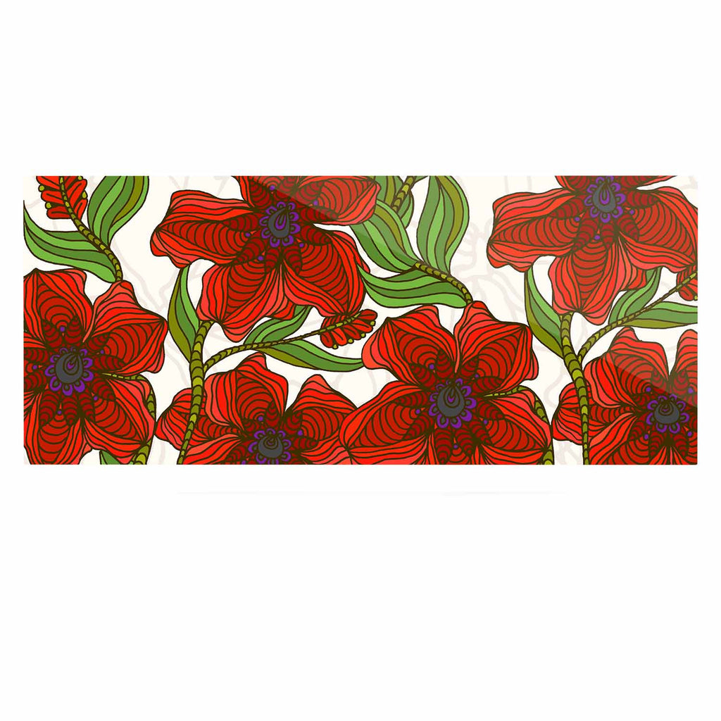"Art Love Passion ""Poppy Field"" Red Beige Luxe Rectangle Panel - KESS InHouse  - 1"