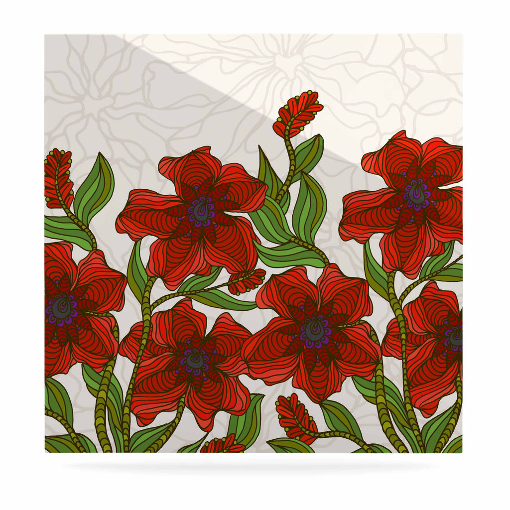 "Art Love Passion ""Poppy Field"" Red Beige Luxe Square Panel - KESS InHouse  - 1"