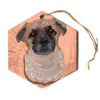 "Art Love Passion ""Mr. Milo"" Brown Beige Hexagon Holiday Ornament"