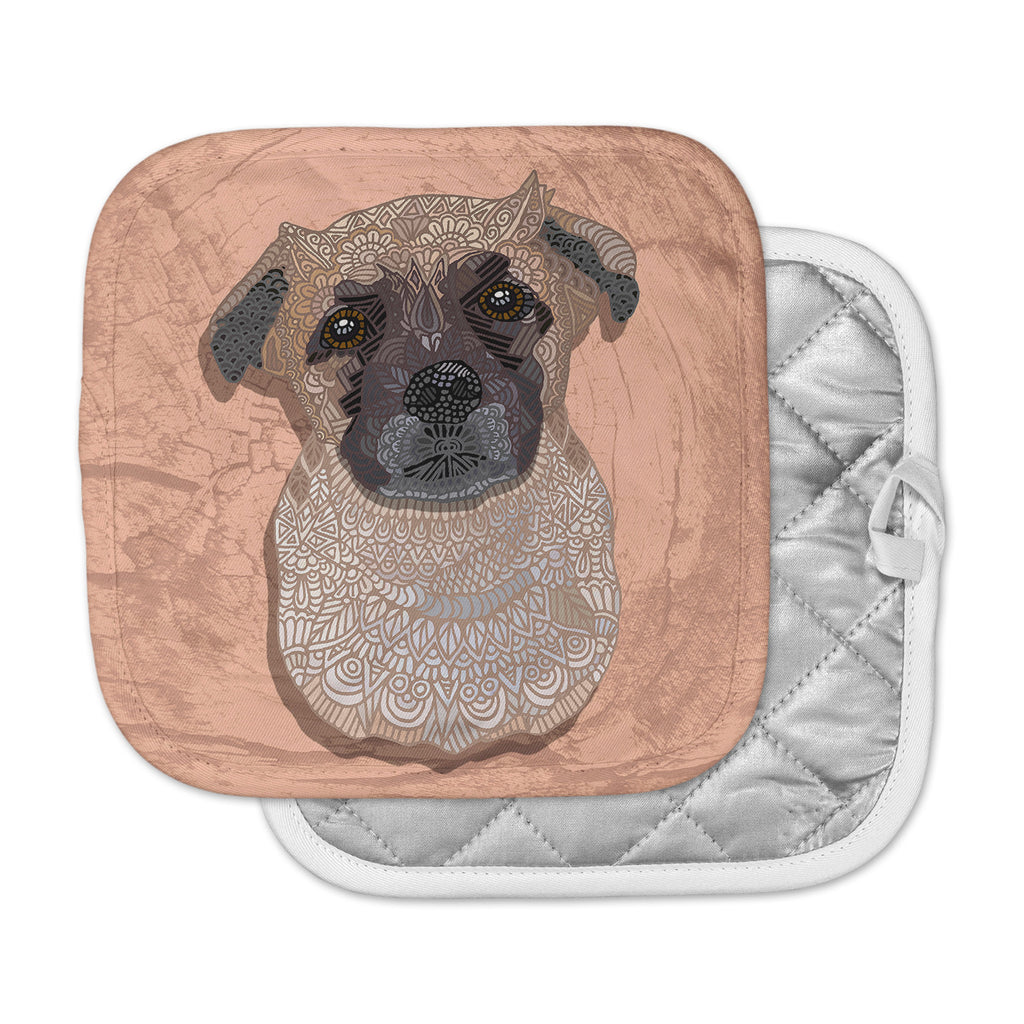 "Art Love Passion ""Mr. Milo"" Brown Beige Pot Holder"