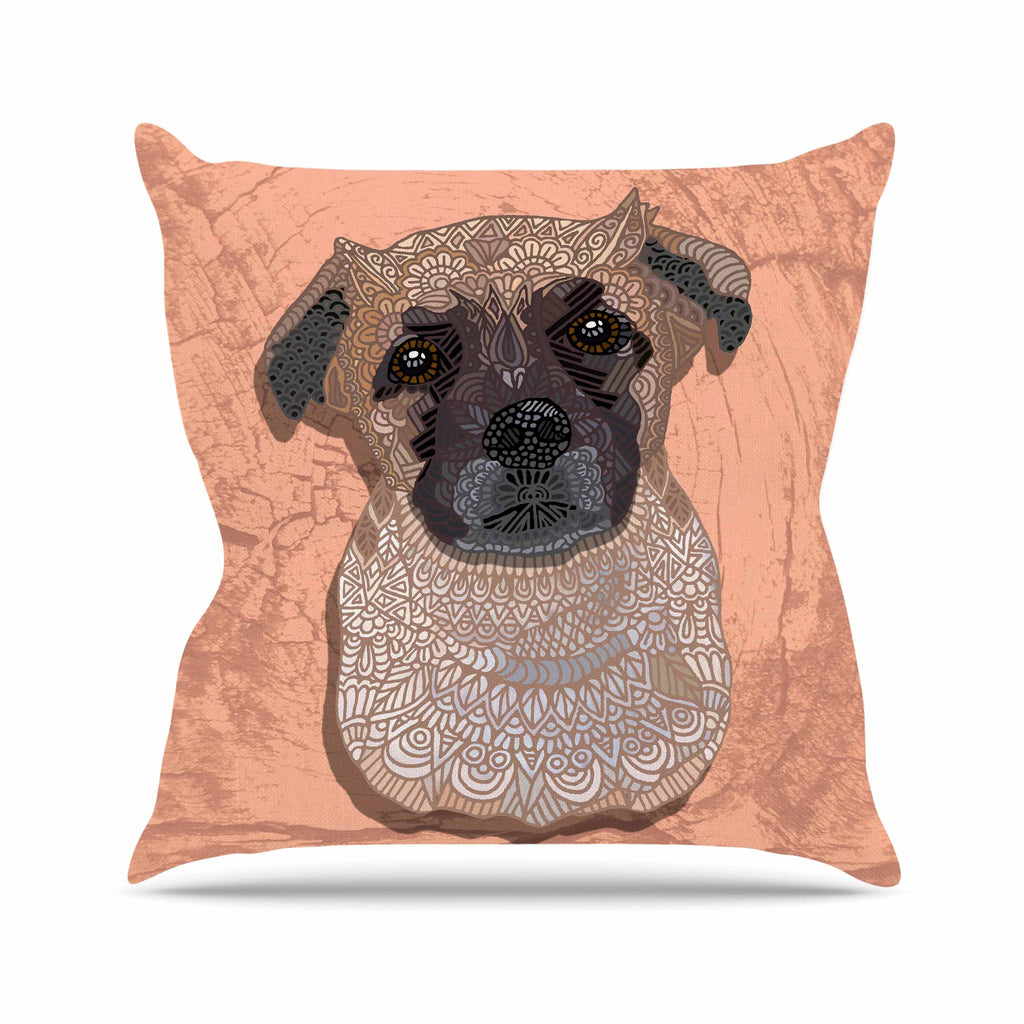 "Art Love Passion ""Mr. Milo"" Brown Beige Outdoor Throw Pillow - KESS InHouse  - 1"