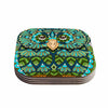 "Art Love Passion ""Great Green Owl"" Teal Gray Coasters (Set of 4)"