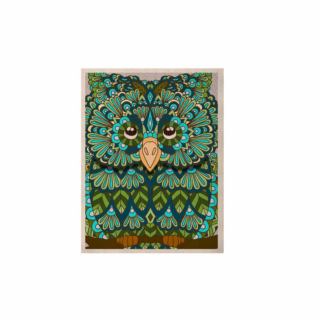 "Art Love Passion ""Great Green Owl"" Teal Gray KESS Naturals Canvas (Frame not Included) - KESS InHouse  - 1"