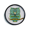 "Art Love Passion ""Great Green Owl"" Teal Gray Modern Wall Clock"