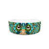 "Art Love Passion ""Great Green Owl"" Teal Gray Pet Bowl - KESS InHouse"
