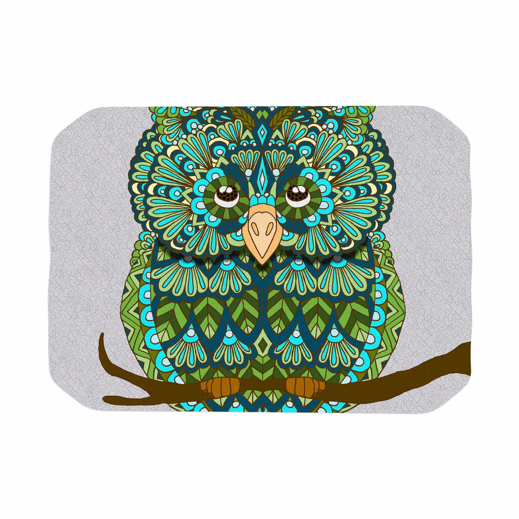 "Art Love Passion ""Great Green Owl"" Teal Gray Place Mat - KESS InHouse"