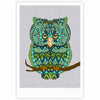 "Art Love Passion ""Great Green Owl"" Teal Gray Fine Art Gallery Print - KESS InHouse"