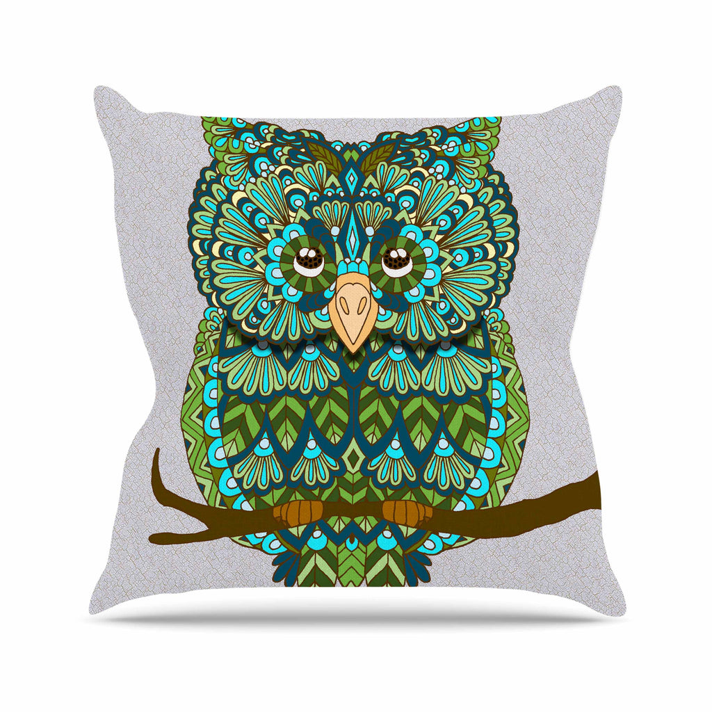 "Art Love Passion ""Great Green Owl"" Teal Gray Outdoor Throw Pillow - KESS InHouse  - 1"
