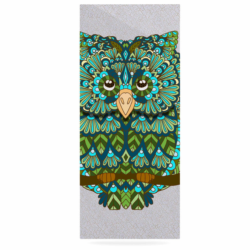"Art Love Passion ""Great Green Owl"" Teal Gray Luxe Rectangle Panel - KESS InHouse  - 1"