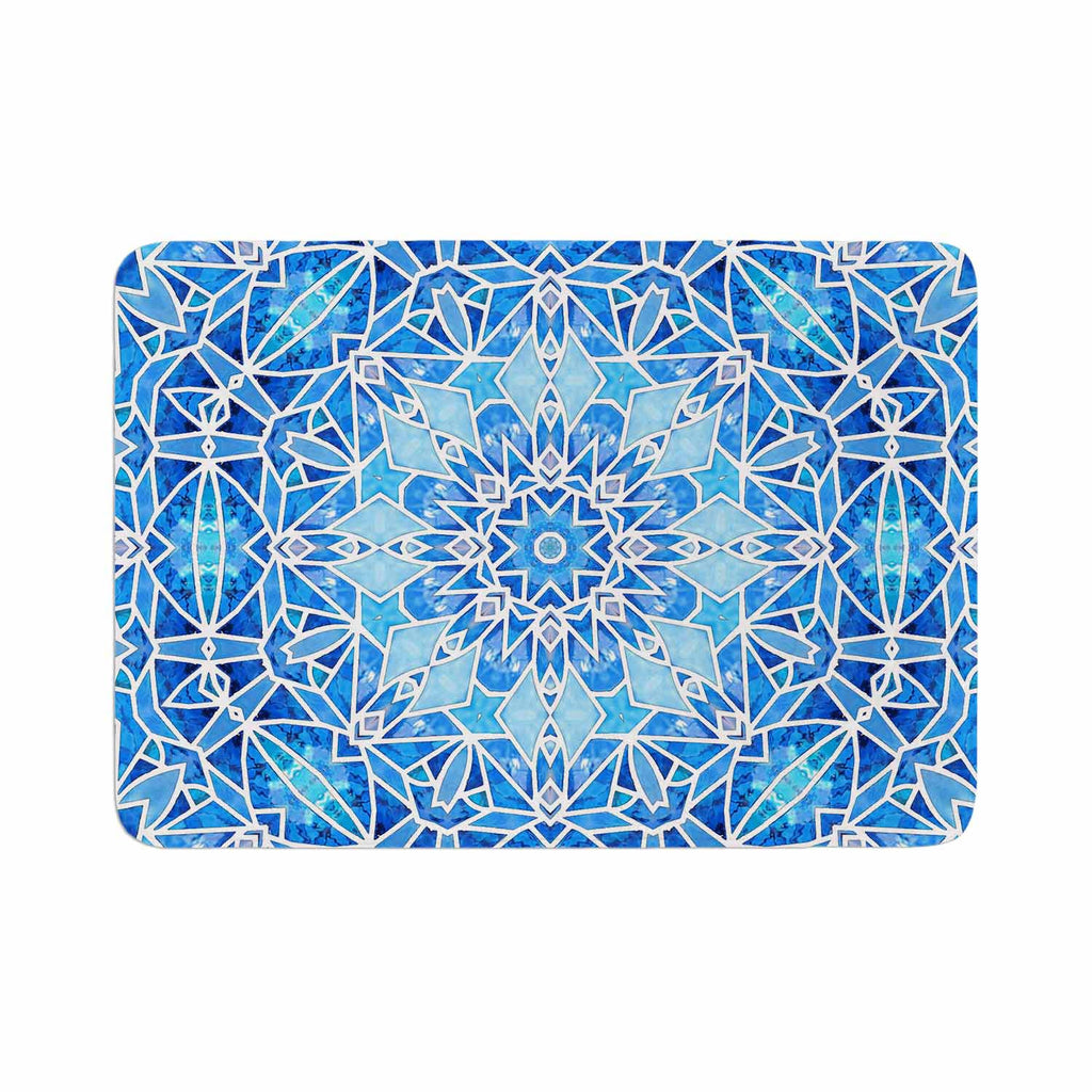 "Art Love Passion ""Star Snowflake"" Blue Aqua Memory Foam Bath Mat - KESS InHouse"