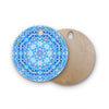 "Art Love Passion ""Star Snowflake"" Blue Aqua Round Wooden Cutting Board"
