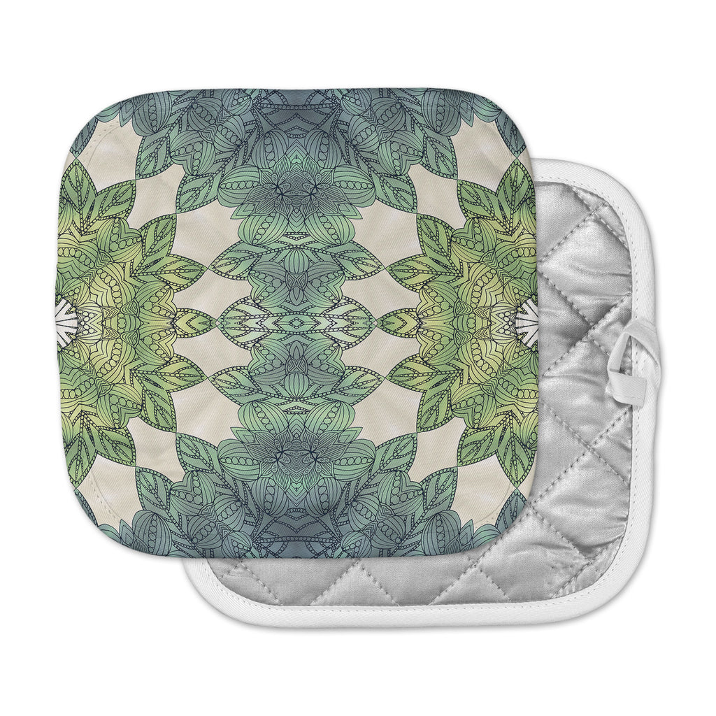 "Art Love Passion ""Forest Leaves"" Green Teal Celtic AbstractPot Holder"