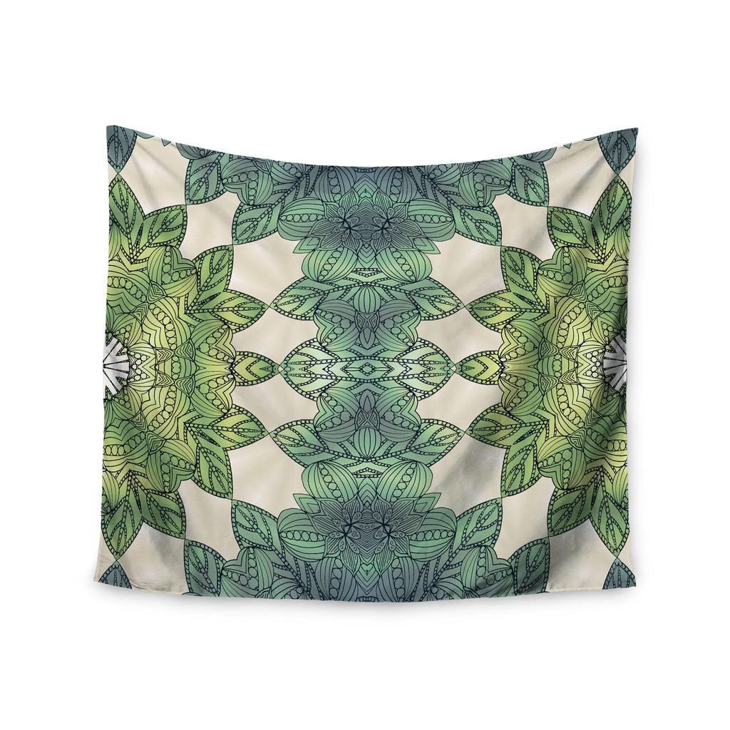 "Art Love Passion ""Forest Leaves"" Green Teal Celtic Abstract Wall Tapestry - KESS InHouse  - 1"