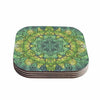 "Art Love Passion ""Fairy Mandala"" Green Yellow Coasters (Set of 4)"