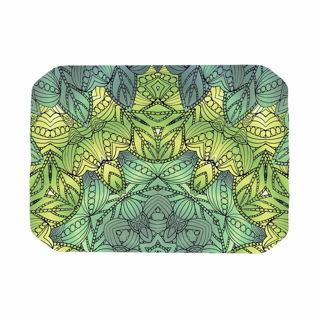"Art Love Passion ""Fairy Mandala"" Green Yellow Place Mat - KESS InHouse"