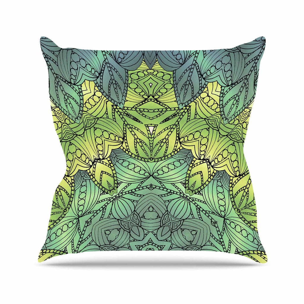 "Art Love Passion ""Fairy Mandala"" Green Yellow Outdoor Throw Pillow - KESS InHouse  - 1"