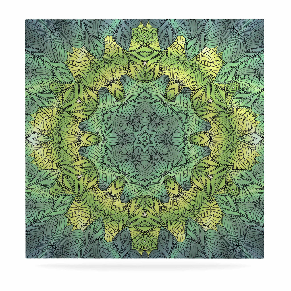 "Art Love Passion ""Fairy Mandala"" Green Yellow Luxe Square Panel - KESS InHouse  - 1"