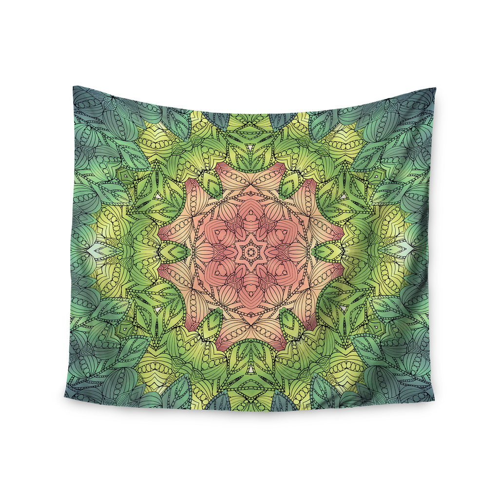 "Art Love Passion ""Pink Celtic Flower"" Green Pink Wall Tapestry - KESS InHouse  - 1"