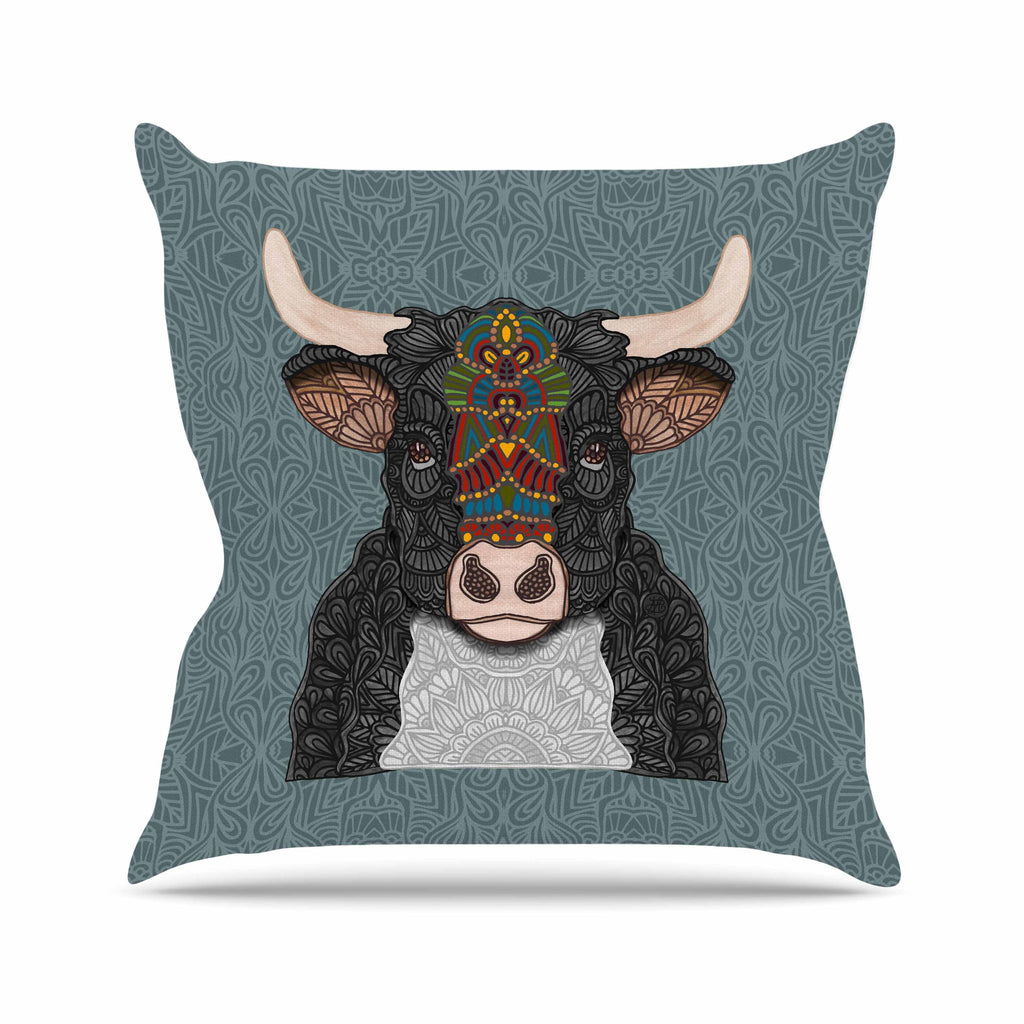 Steve The Bull Outdoor Throw Pillow By Art Love Passion Kess
