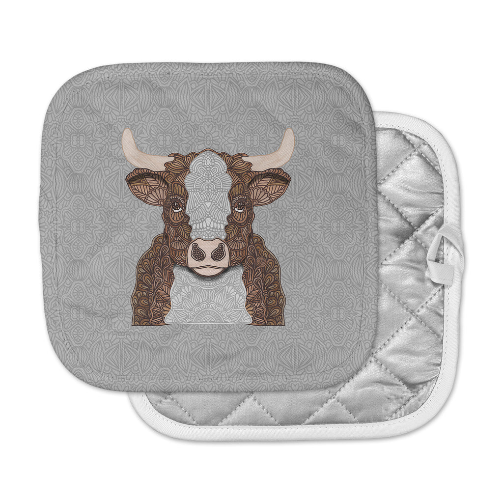 "Art Love Passion ""Gustaf The Bull"" Brown Gray Pot Holder"