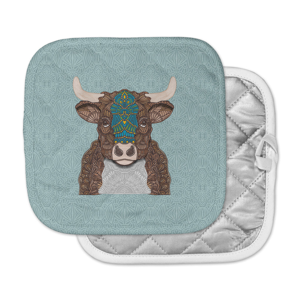 "Art Love Passion ""Bennie - The Bull"" Teal Brown Pot Holder"