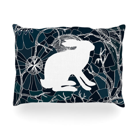 "Anchobee ""Hare"" Blue White Oblong Pillow - KESS InHouse"