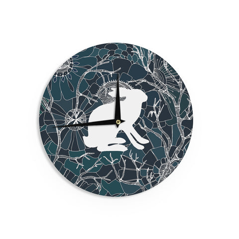"Anchobee ""Hare"" Blue White Wall Clock - KESS InHouse"