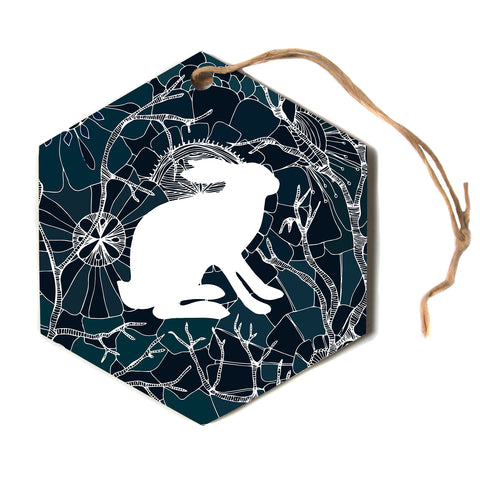 "Anchobee ""Hare"" Blue White Hexagon Holiday Ornament"