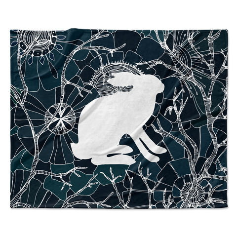 "Anchobee ""Hare"" Blue White Fleece Throw Blanket"