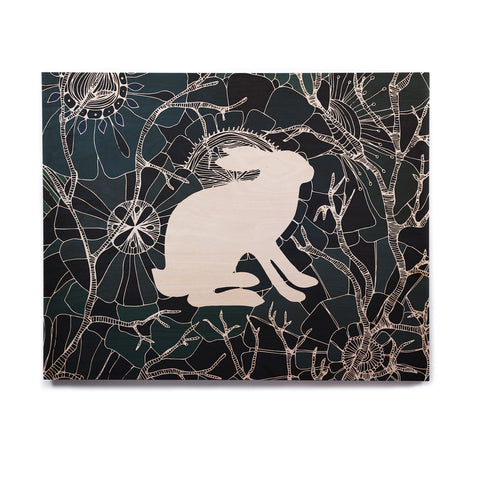 "Anchobee ""Hare"" Blue White Birchwood Wall Art - KESS InHouse  - 1"