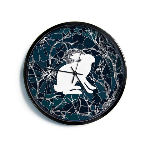 "Anchobee ""Hare"" Blue White Modern Wall Clock"