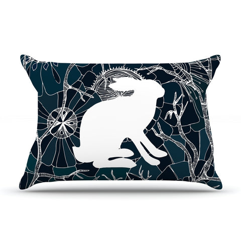 "Anchobee ""Hare"" Blue White Pillow Sham - KESS InHouse  - 1"