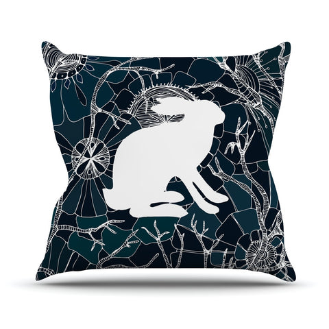 "Anchobee ""Hare"" Blue White Outdoor Throw Pillow - KESS InHouse  - 1"