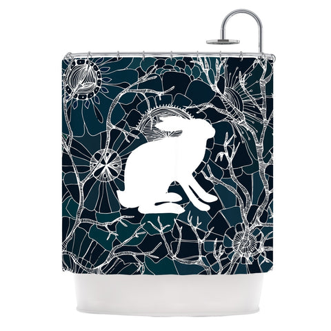 "Anchobee ""Hare"" Blue White Shower Curtain - KESS InHouse"